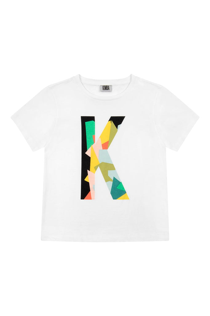 'K' Placement Print T-Shirt  - White