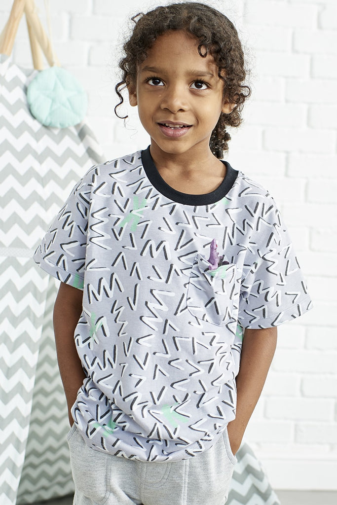 Boys Repeat Print 'K' T-Shirt - Grey