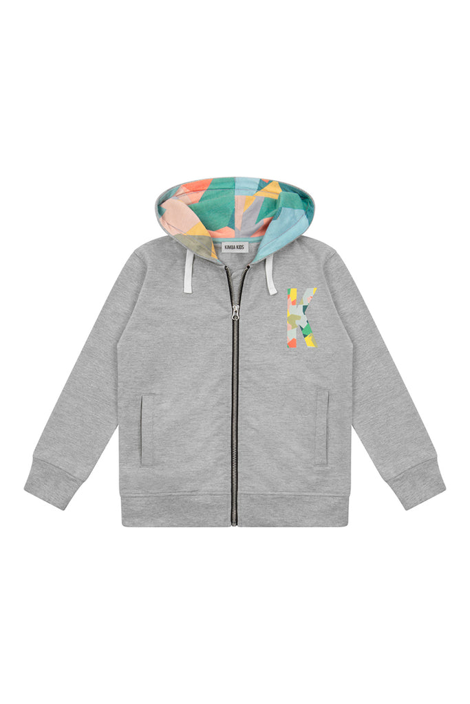 'K' Placement Print Zip Through Hoodie - Grey