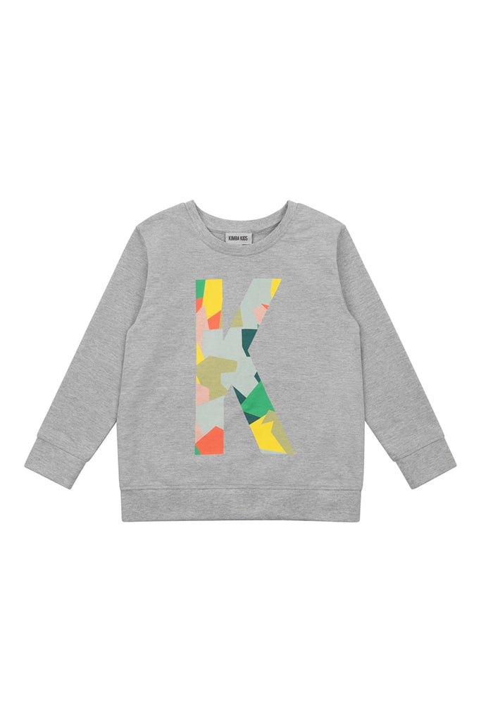 Boys 'K' Placement Print Sweater - Grey