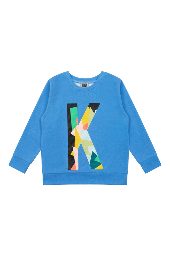 'K' Placement Print Sweater - Blue