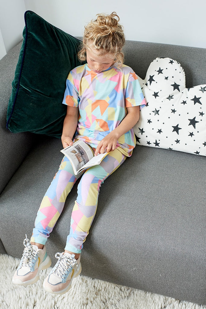 Girls Abstract Shape Print Leggings - Multi