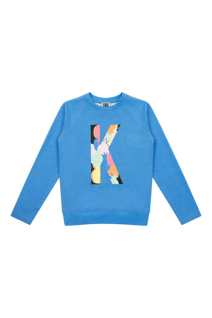 'K' Front Print Sweater - Blue