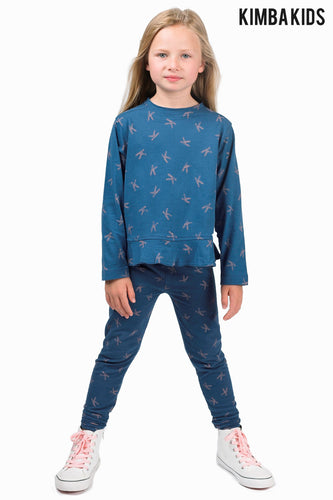 Kimba Kids by Kimberley Walsh K Print Navy Peplum Long Sleeve Tee