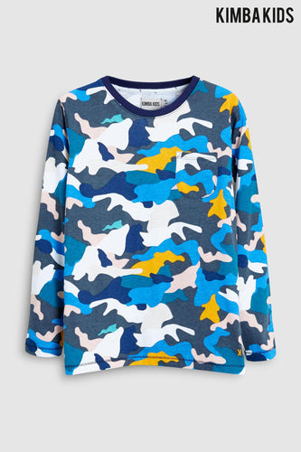 Kimba Kids by Kimberley Walsh Blue Camo Print Long Sleeve Top