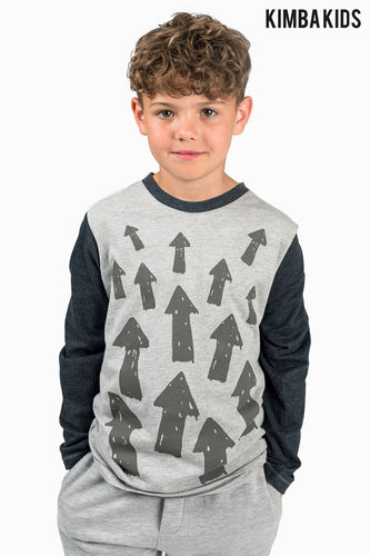 Kimba Kids by Kimberley Walsh Grey Arrow Print Long Sleeve Top