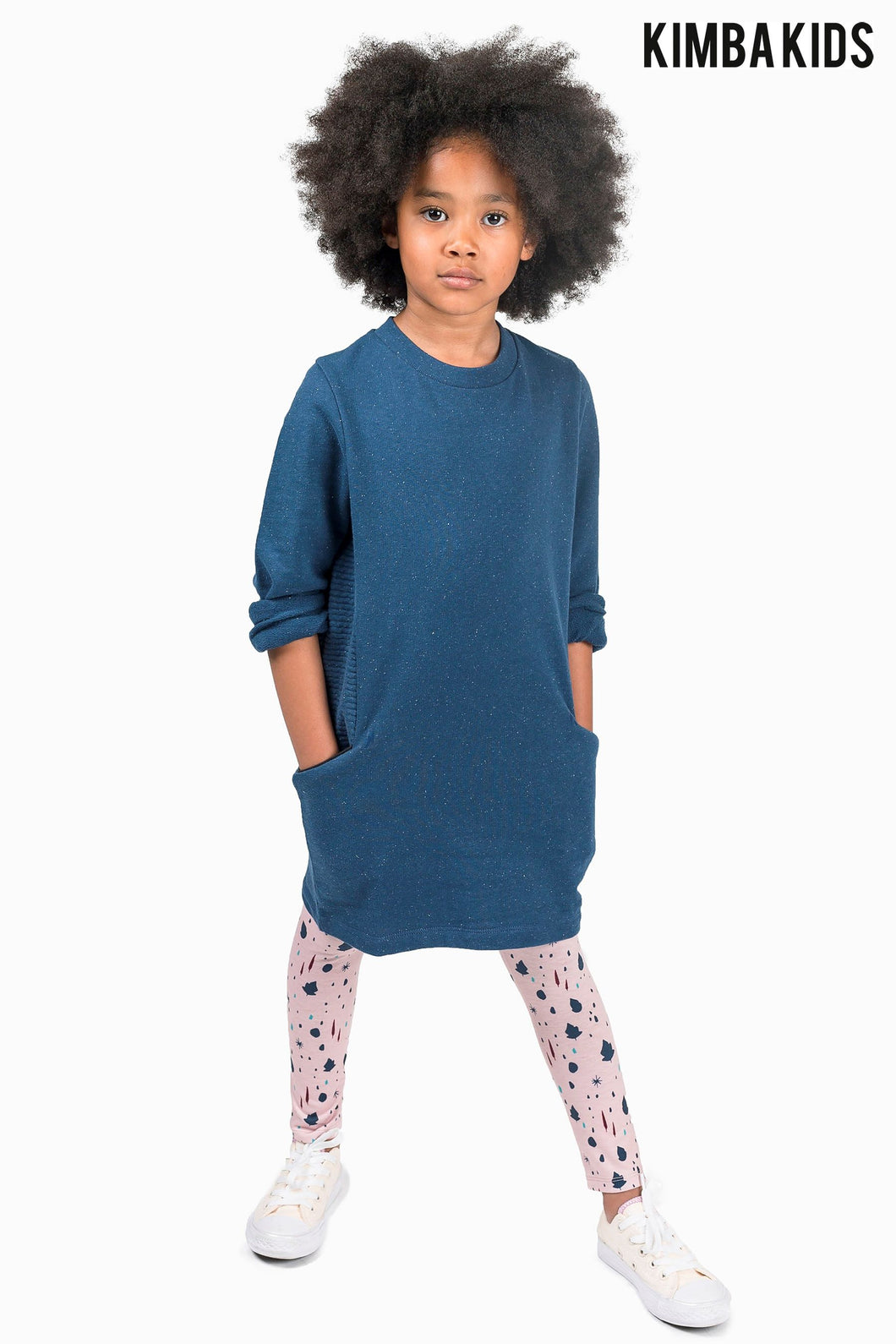 Kimba Kids by Kimberley Walsh Navy Dress With Ribbed Detailing