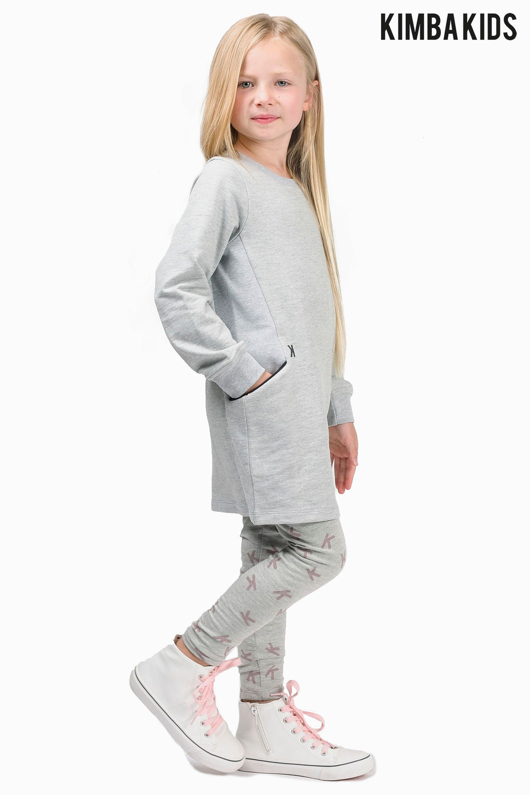 Kimba Kids by Kimberley Walsh Grey Dress With Ribbed Detailing