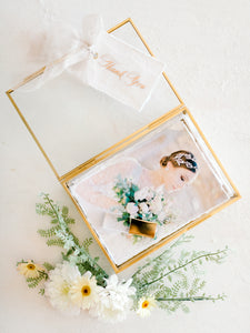 "Heirloom Glass Print box to hold 5x7"" prints"