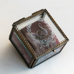 Heirloom Bride Custom Embossed glass ring box | Floral Wreath