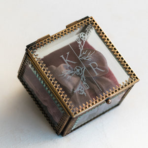 Heirloom Bride Custom Embossed glass ring box | Modern Botanical