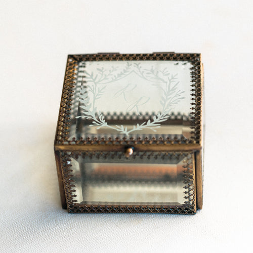 Heirloom Bride Custom Embossed glass ring box | French Crest