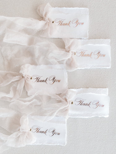 Deckled edge paper Thank you tags