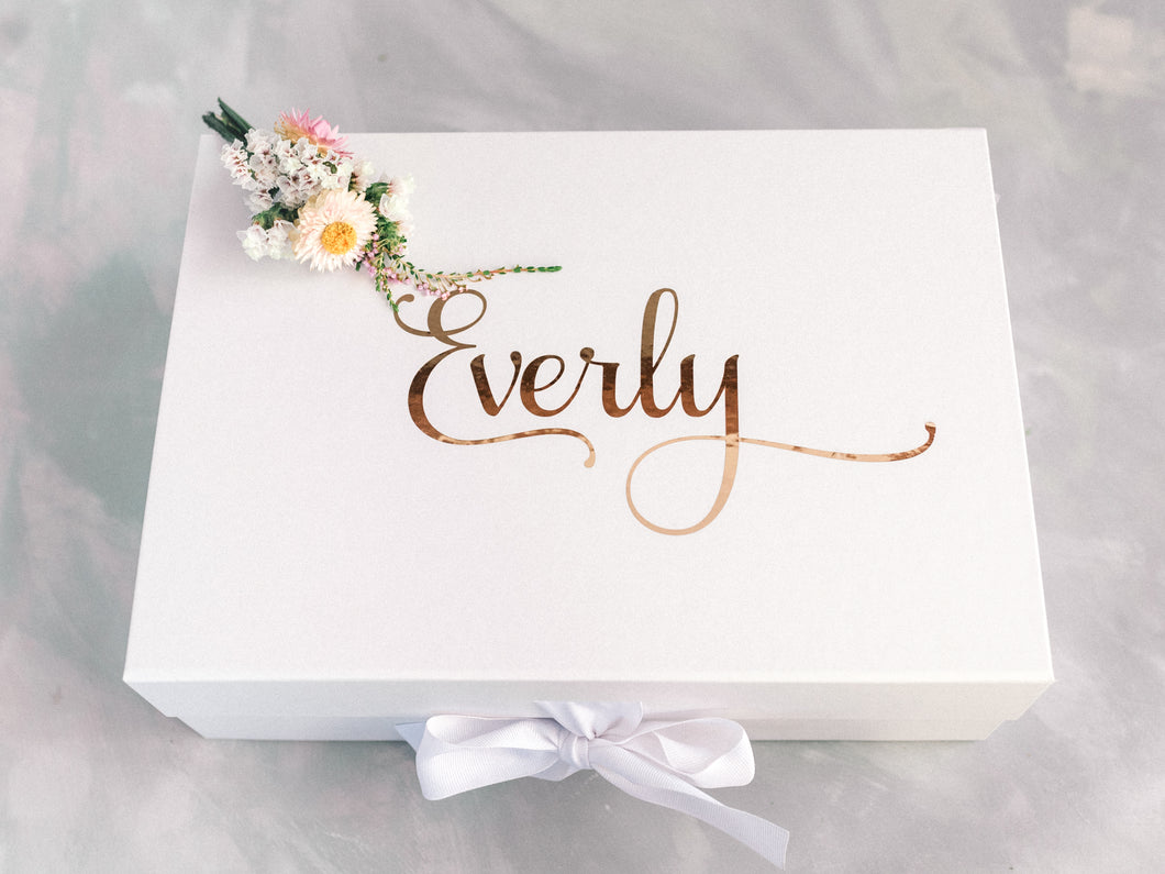 Premium Personalised gift box with white bow