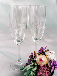 Mr and Mrs etched Champagne Glasses
