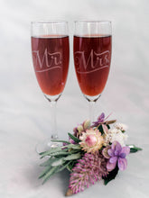 Load image into Gallery viewer, Mr and Mrs etched Champagne Glasses
