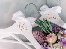 Load image into Gallery viewer, Personalised Bridal Coat Hangers | White
