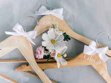 Load image into Gallery viewer, Personalised Bridal Coat Hangers | Natural with white Decal