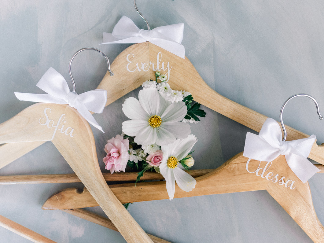 Personalised Bridal Coat Hangers | Natural with white Decal