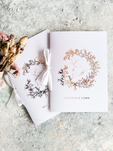 Beautiful Rose gold Foiled Vow Booklets