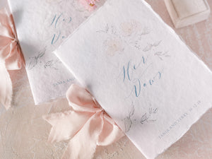 Handmade paper vow booklet set