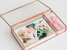 Load image into Gallery viewer, Heirloom Glass Print and USB Box in Gold, Rose Gold or Silver