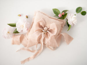 Raw silk ring pillow in soft blush