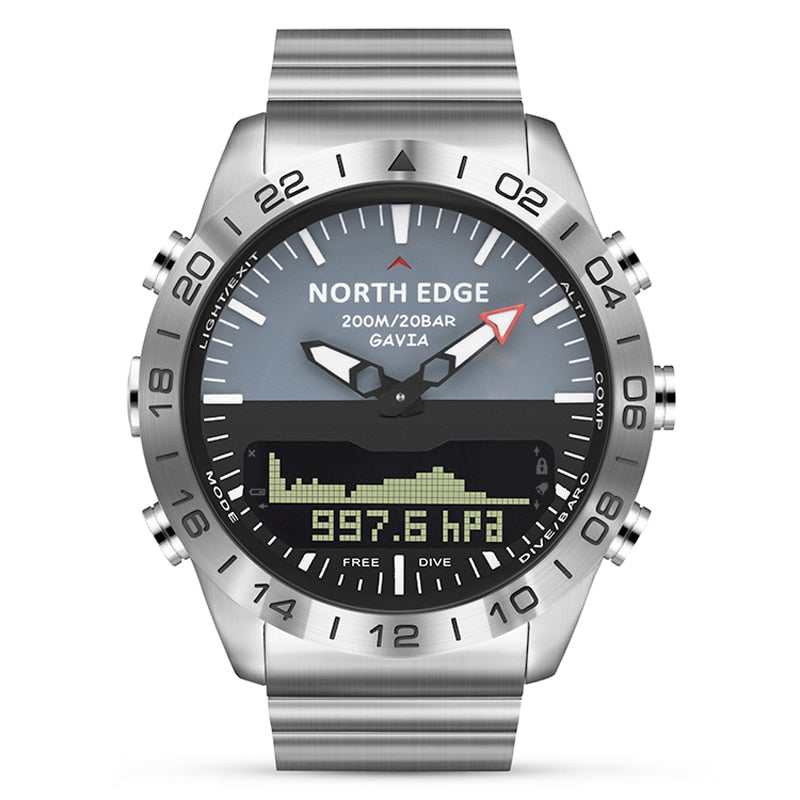 Stainless steel Quartz Watch Dive Military Sport Watches Mens Diving Analog Digital Watch Male Army Altimeter Compass NORTH EDGE - TestYourWill