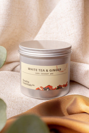 White Tea & Ginger Cocosoy Scented Candle 200ML | Breathe Essentials Co