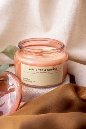 White Tea & Ginger Cocosoy Scented Candle Singapore | Breathe Essentials
