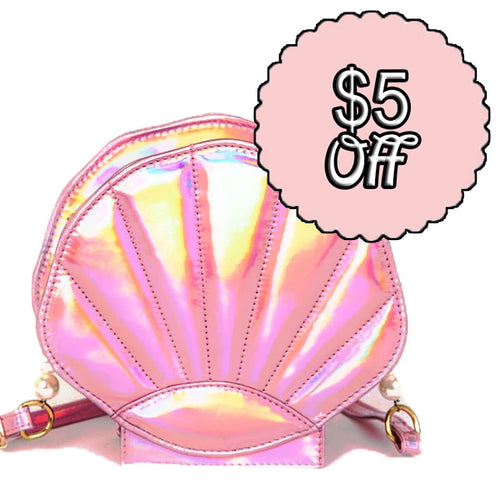 Holographic Pink Shell Bag