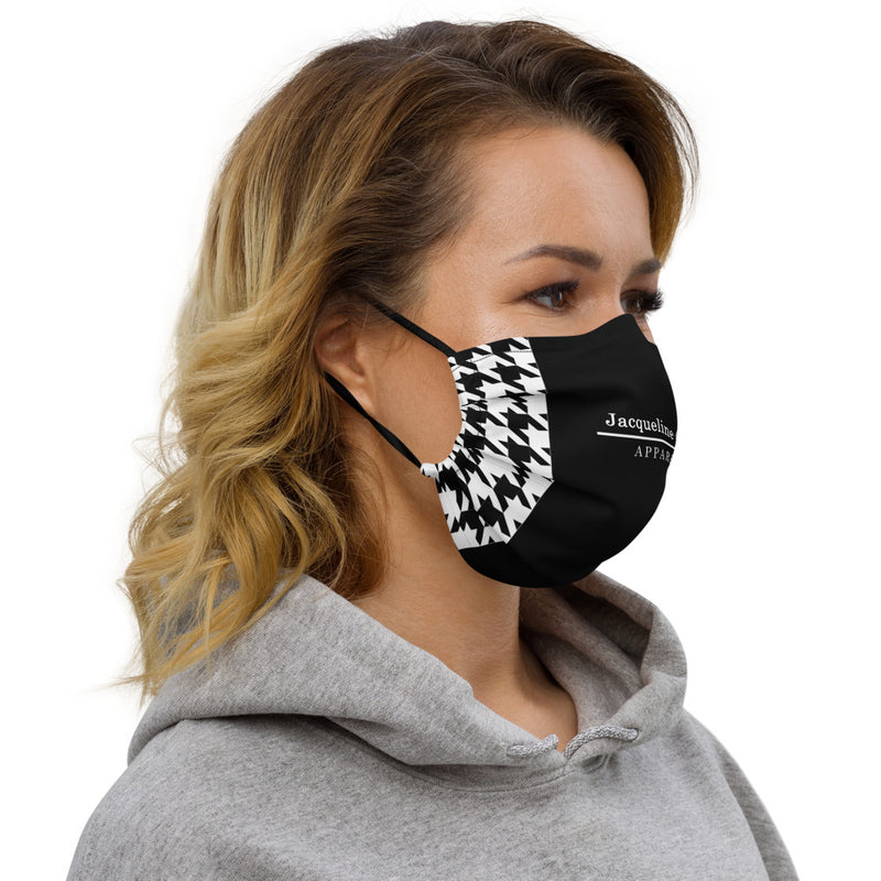 Houndstooth Black Face Mask
