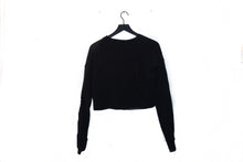 Load image into Gallery viewer, Ramona's Black Cropped Crewneck
