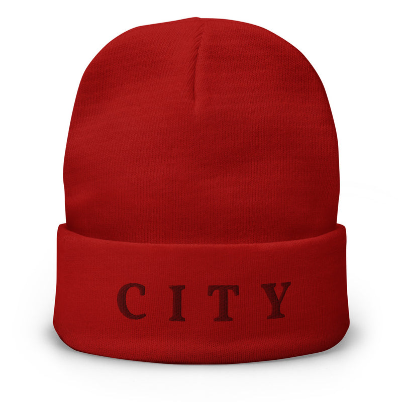 CITY Embroidered Fold-Over Beanie