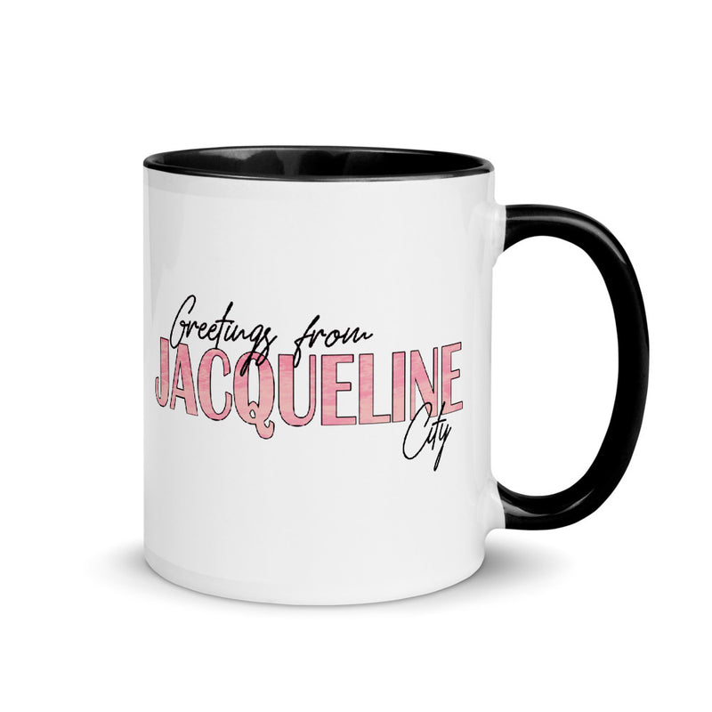 """Greetings from Jacqueline City"" 11 oz Mug"