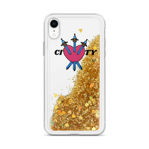 CITY Heart Liquid Glitter Phone Case