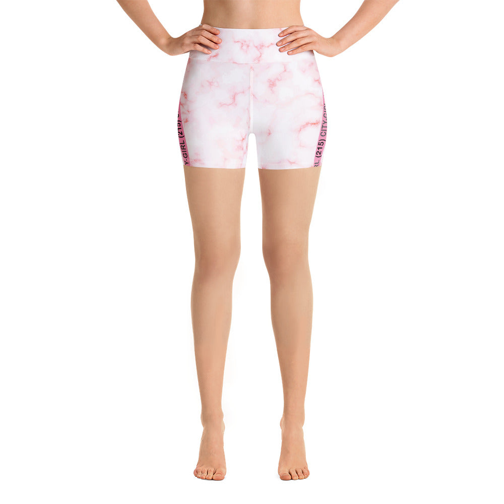Pink Marble Bike Shorts Co-Ord