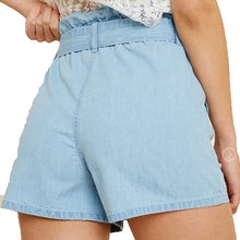 Load image into Gallery viewer, High-Waisted Tie-Front Denim Shorts