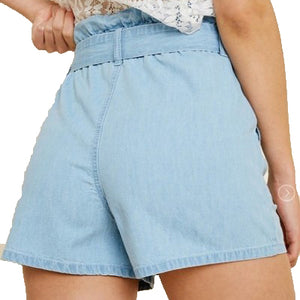 High-Waisted Tie-Front Denim Shorts
