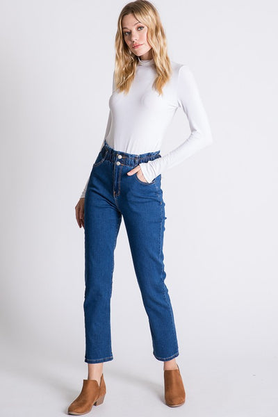 Leyla High Waisted Denim Jeans - Elizabeth's Boutique