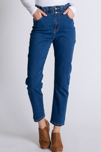 Leyla High Waisted Denim Pants - Elizabeth's Boutique