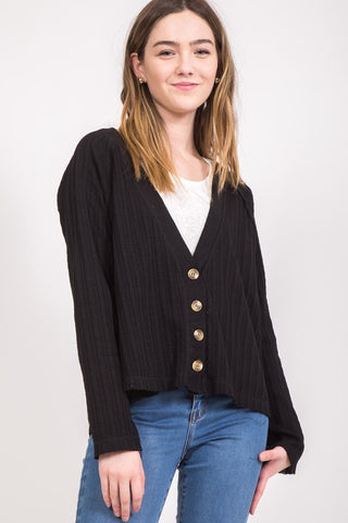 Aria Black Cardigan - Elizabeth's Boutique