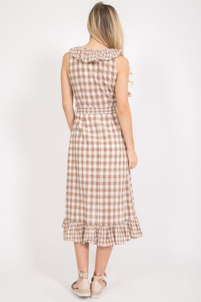 Marla Ruffled Plaid Midi Dress - Elizabeth's Boutique