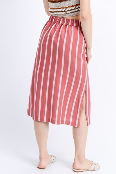 Gabby Stripe Button Front Linen Skirt - Elizabeth's Boutique