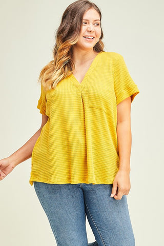 Mustard V-Neck Plus Size Top - Elizabeth's Boutique