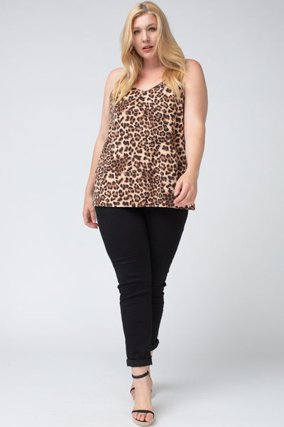 Leopard Print Cami Plus Size Top - Elizabeth's Boutique
