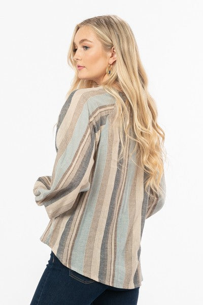 Claire Striped Bell Sleeve Top - Elizabeth's Boutique