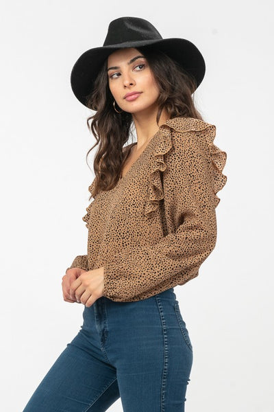 Julissa Leopard Long Sleeve Top - Elizabeth's Boutique