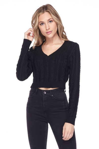 Take Me Back Cropped Pullover Sweater Top - Elizabeth's Boutique