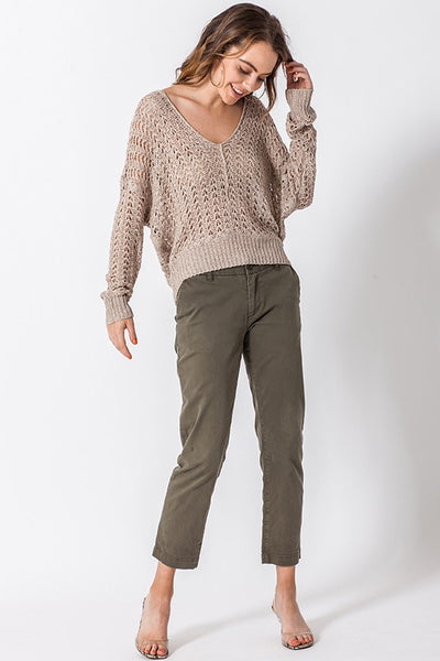 Aaliyah Pullover- Taupe - Elizabeth's Boutique